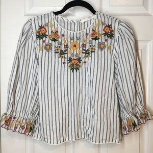 Zara Tops - Zara embroidered floral top with sleeve detail.NWT